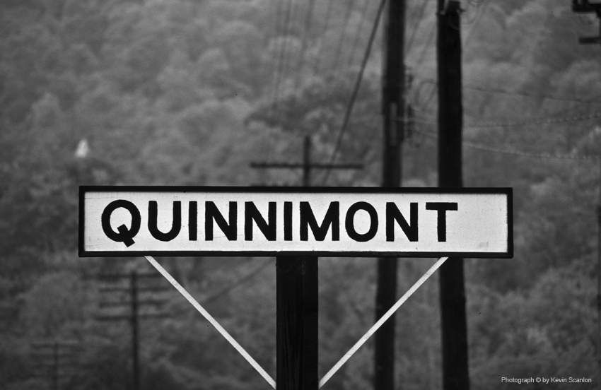 Wooden Station Sign in Qunnimont, WV wye. 5/17/75