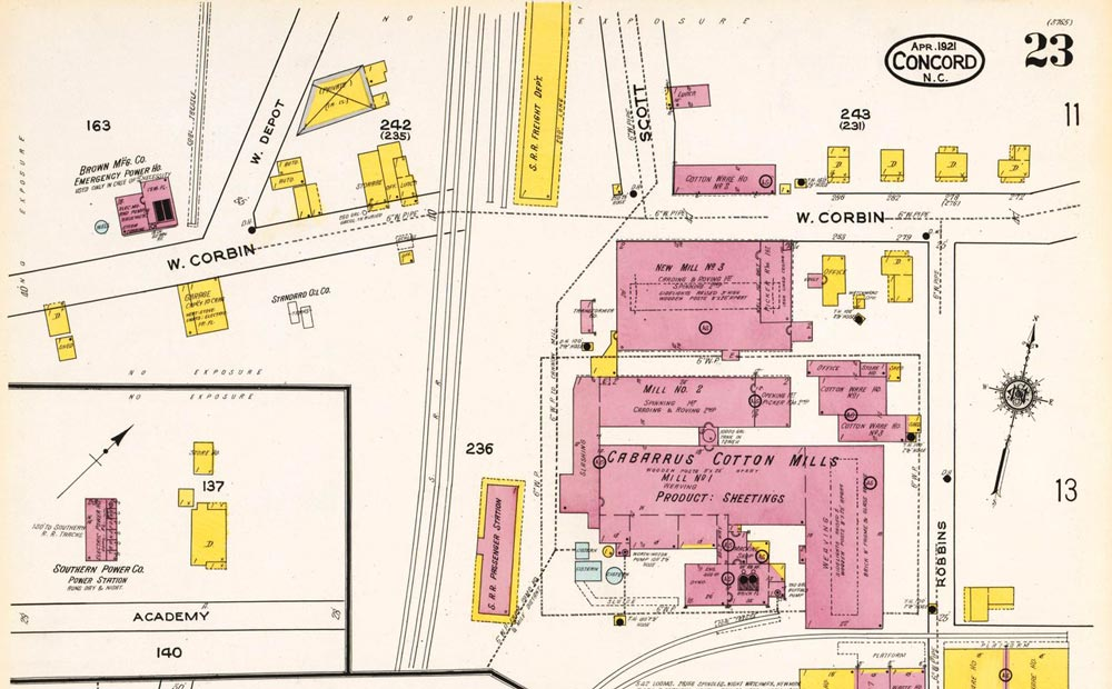This 1921 Sanborn Fire Insurance map focuses on the central area of this treatise. Depicted in this map are the Concord station, Cabarrus Cotton Mill, and the Southern Railway freight station as each was laid out.