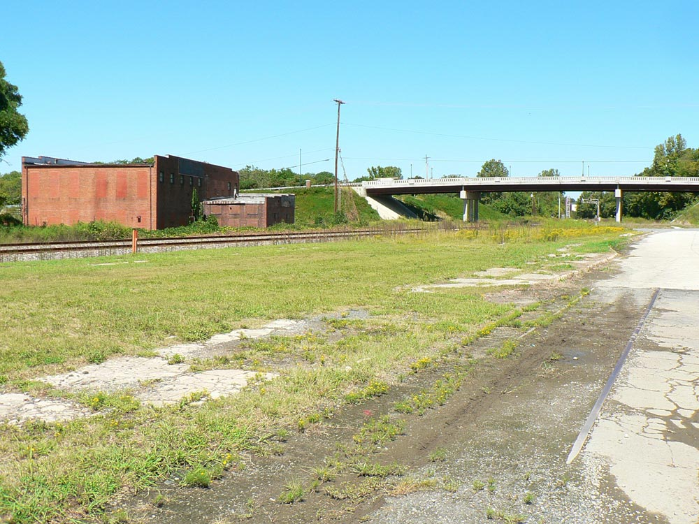 38 years after its demolition, remnants of the rear platform still exist. Rails of a spur that ran behind the structure remain in place. Image Dan Robie 2016