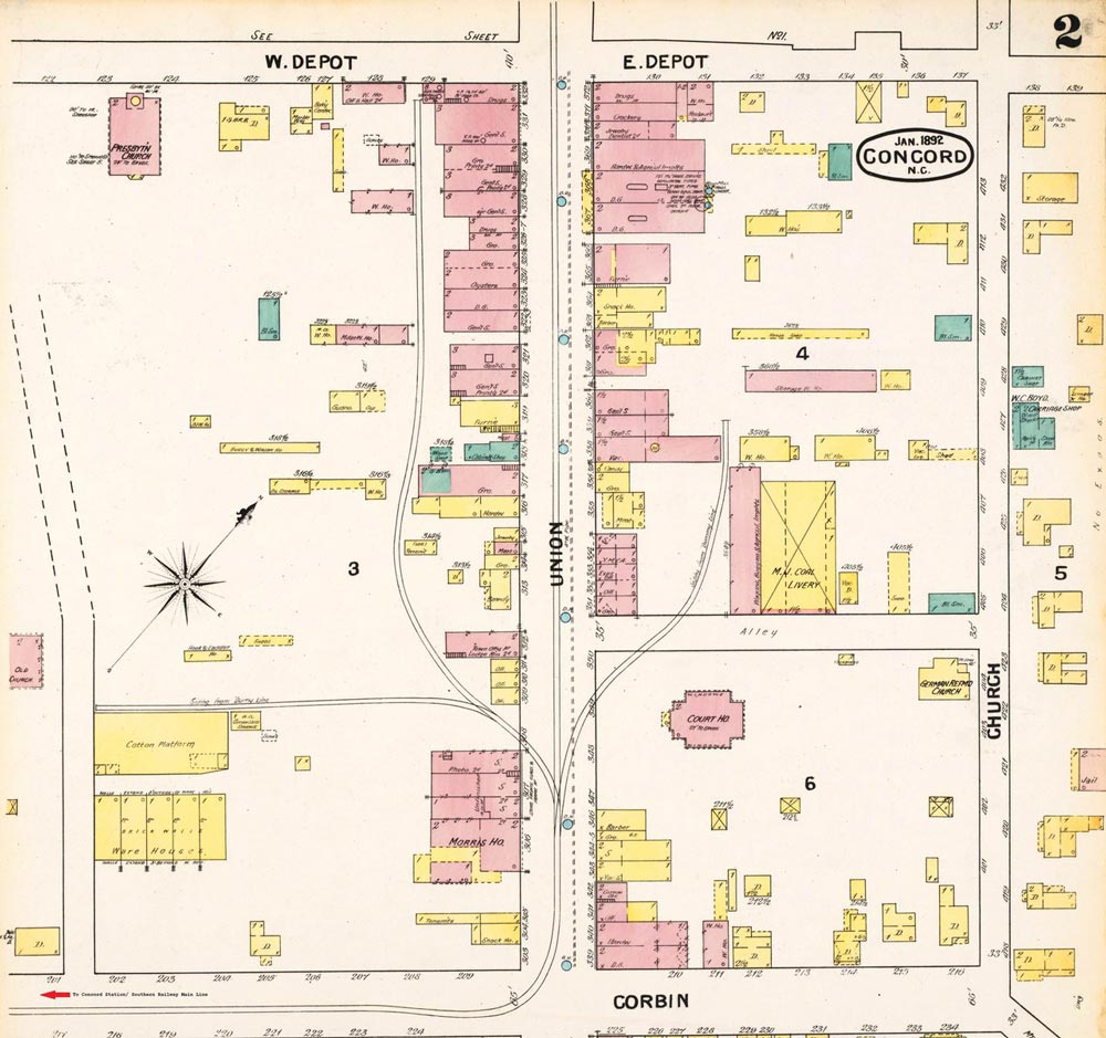 "An 1892 Sanborn map highlighting old downtown Concord which reveals the route of the ""Dummy Line"". Route connected the Southern Railway station with the business district on Union Street."